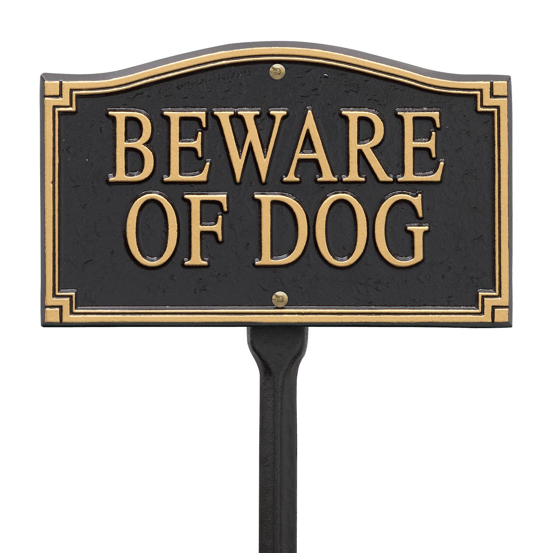 Beware Of Dog Statement Marker Wall Lawn Black Gold