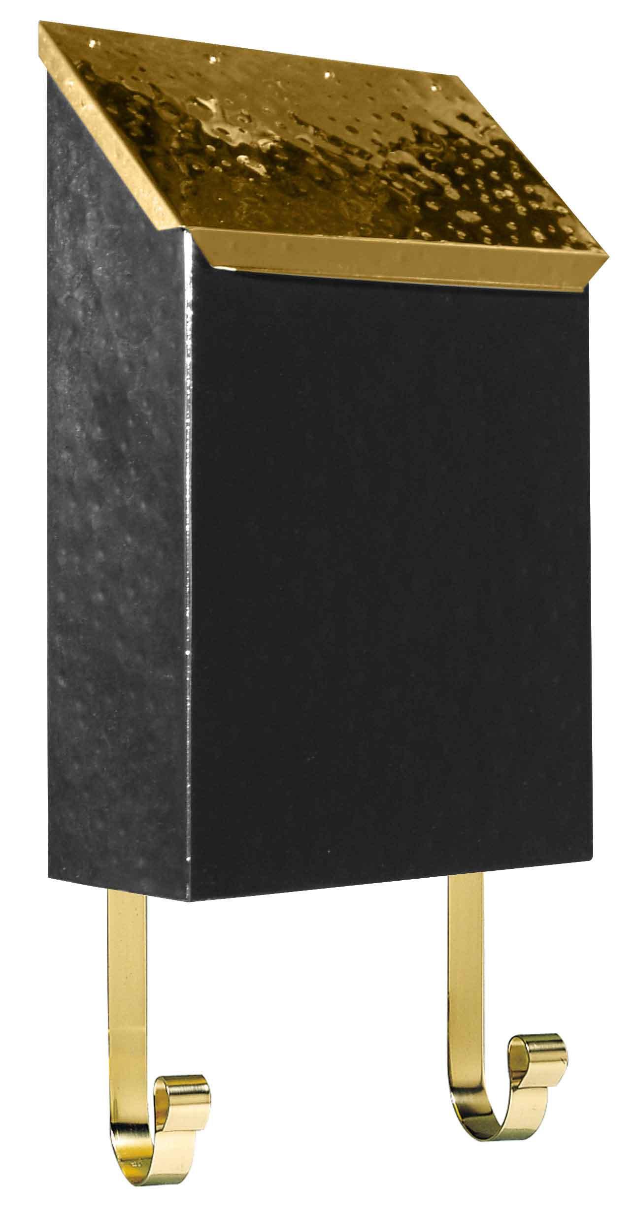 Hammered Black Amp Brass Vertical Wall Mailbox Mailbox