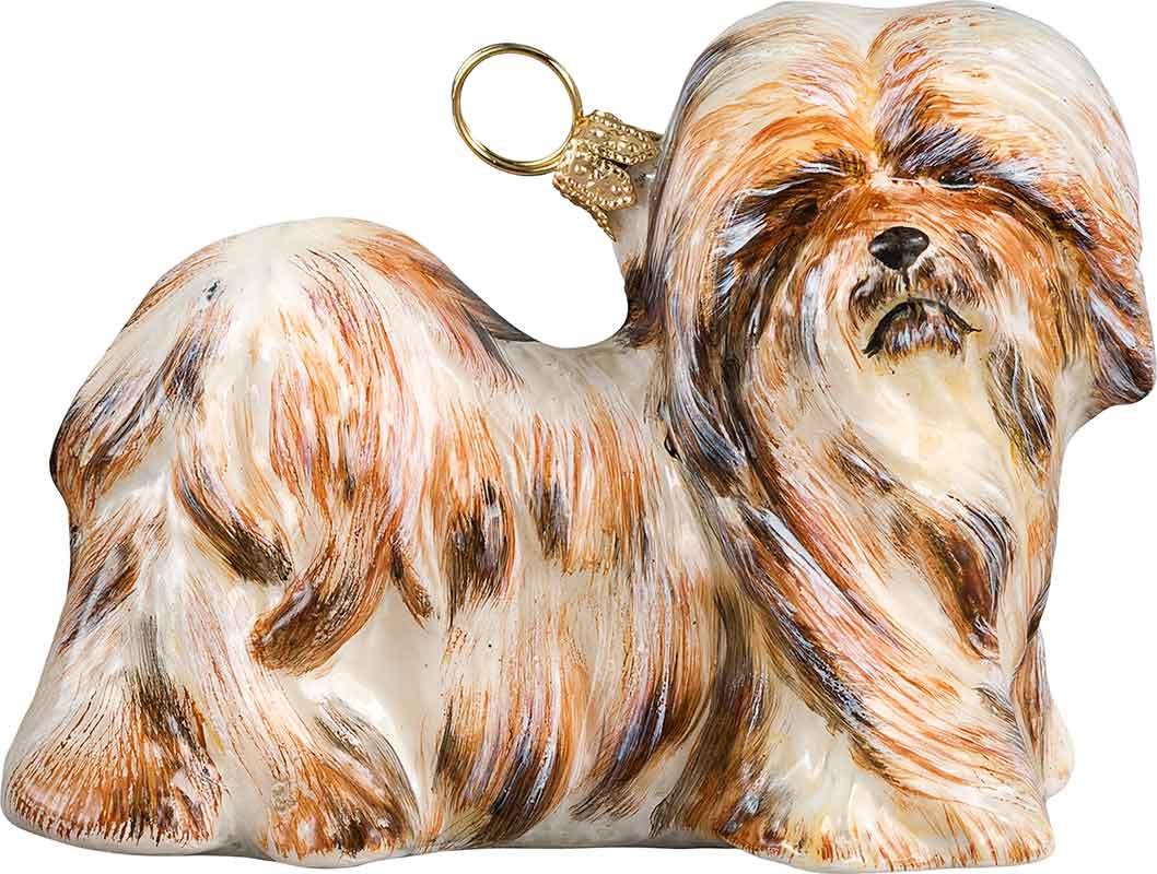 lhasa apso  brown  u0026 white  dog ornament
