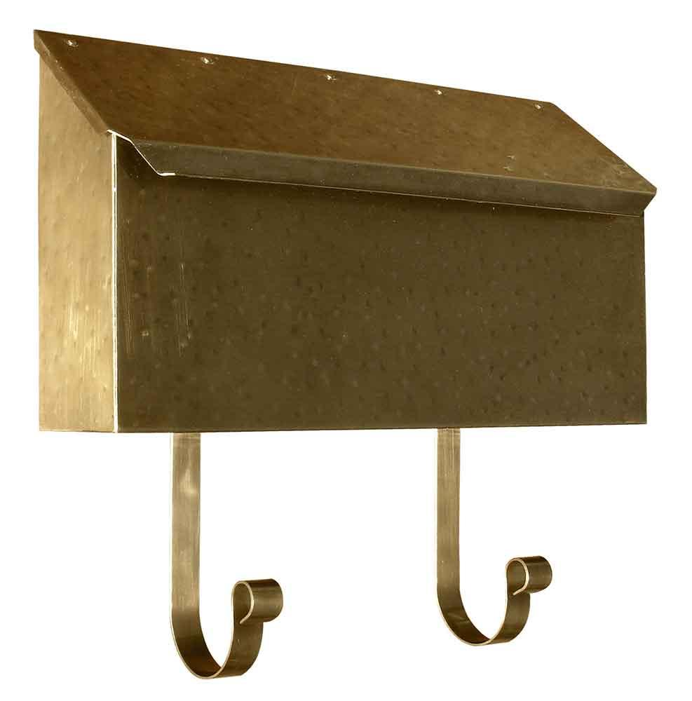 Hammered Antique Brass Horizontal Wall Mailbox