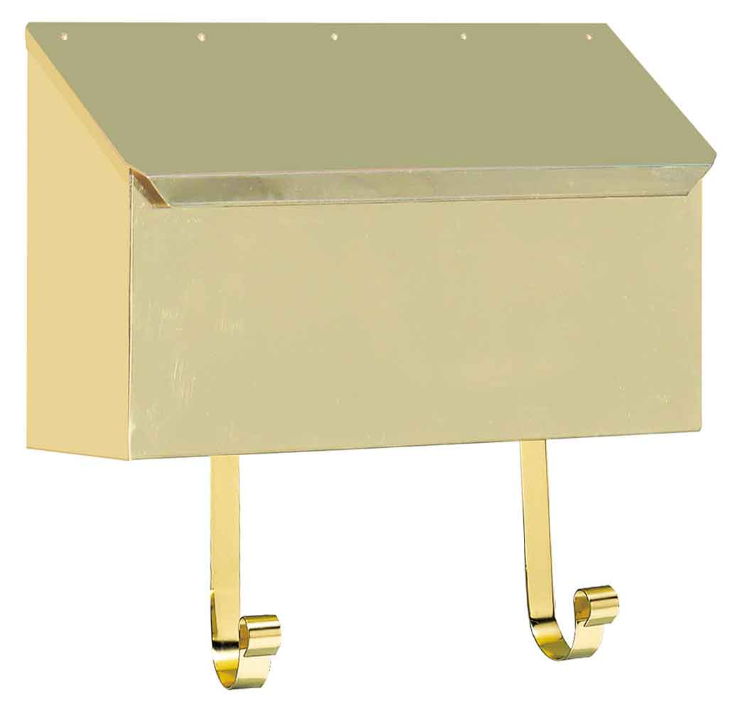 Polished Brass Horizontal Wall Mailbox