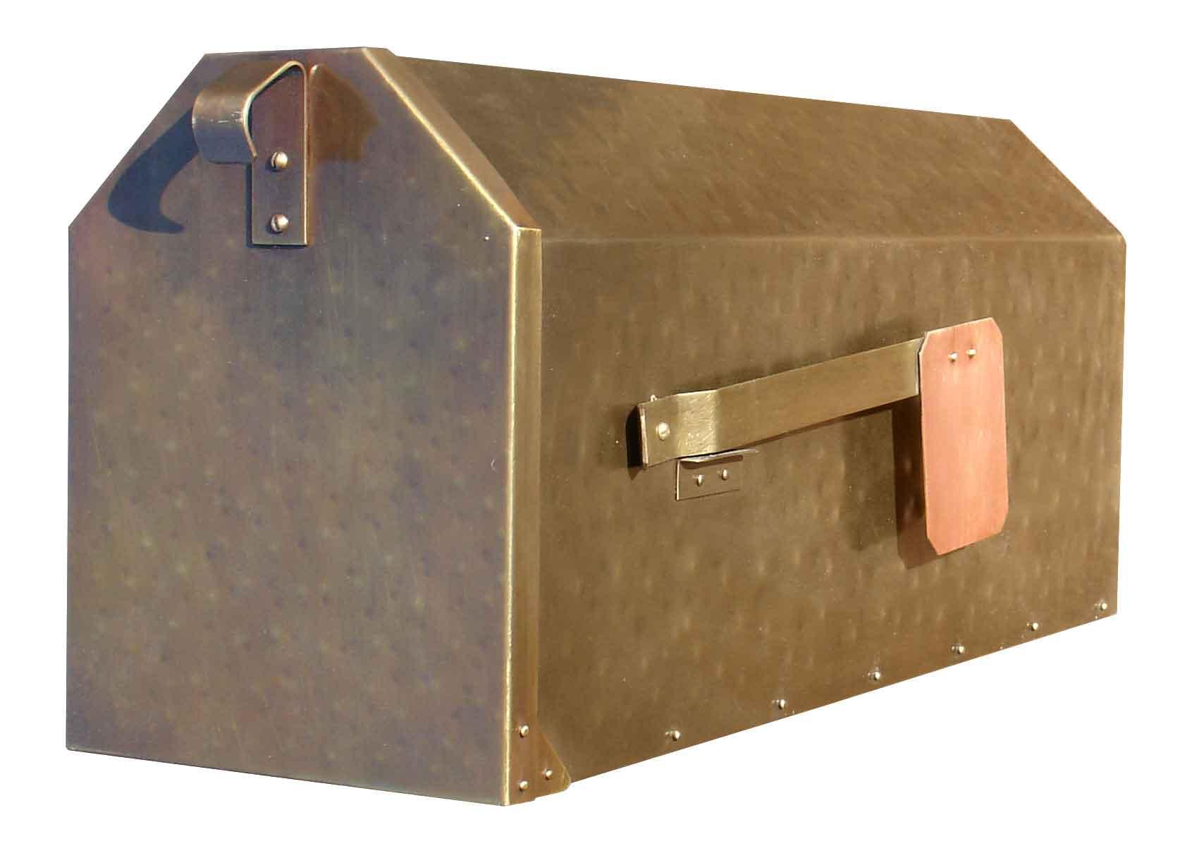 Hammered Antique Brass Post Mount Mailbox Mailbox