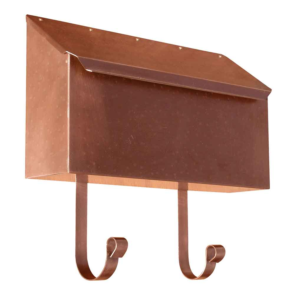 Hammered Antique Copper Horizontal Wall Mailbox