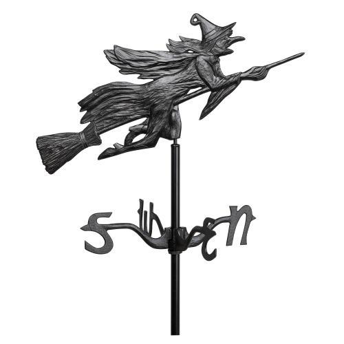 Flying Witch Garden Weathervane - Black