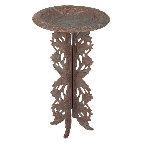 Butterfly Birdbath & Pedestal - Copper Verdigris
