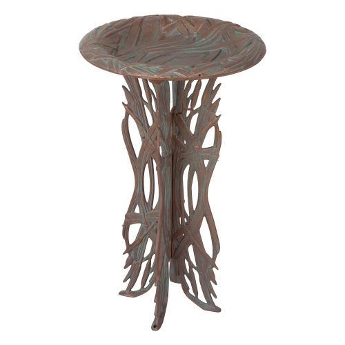 Dragonfly Birdbath & Pedestal - Copper Verdigris