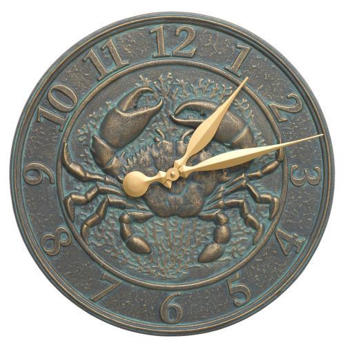 Crab Sealife Clock - Bronze Verdigris