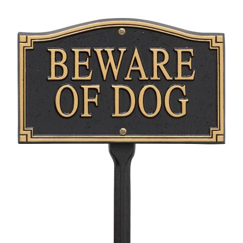 Beware Of Dog Statement Marker -Wall/Lawn - Black/Gold