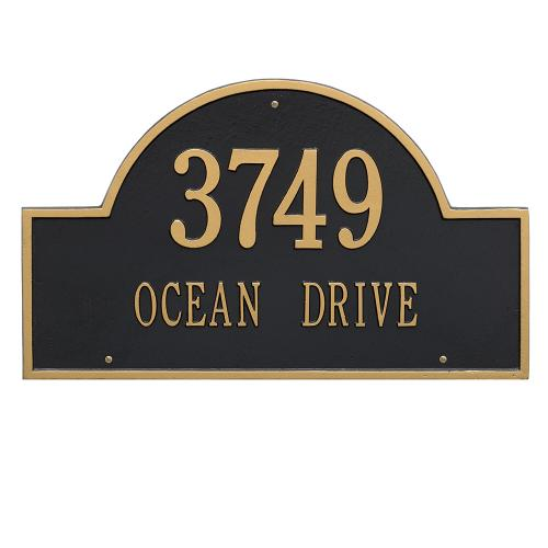 Arch Marker - Estate Size - Two Line Wall Mount - Black/Gold