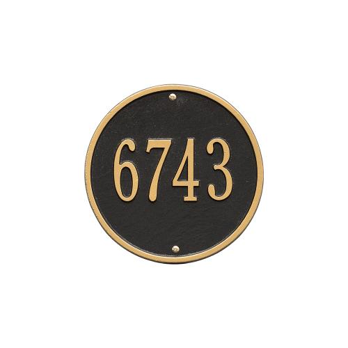 9 Inch Round Number Sign - Black/Gold
