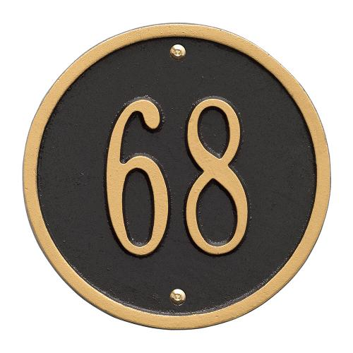 6 Inch Round Number Sign - Black/Gold