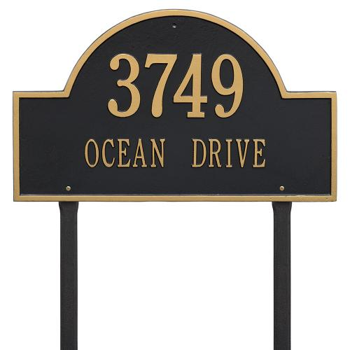 Arch Marker - Estate Lawn - Two Line - Black/Gold