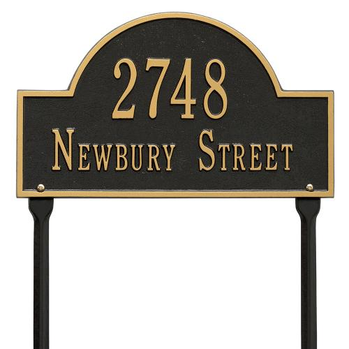 Arch Marker - Standard Lawn - Two Line - Black/Gold