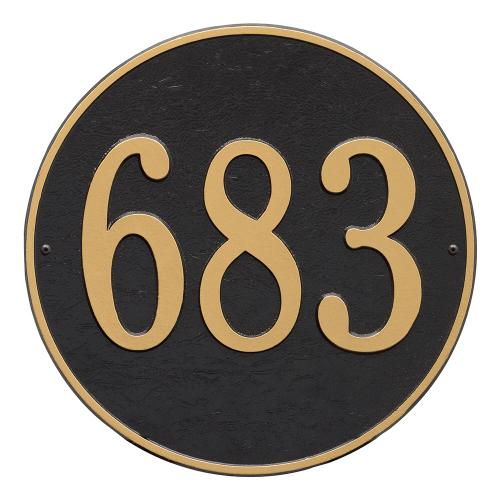 15 Inch Round Number Sign - Black/Gold