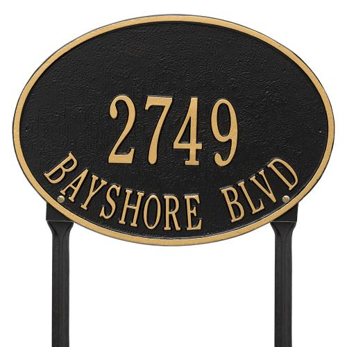 Hawthorne Oval - Standard Lawn - Two Line - Black/Gold