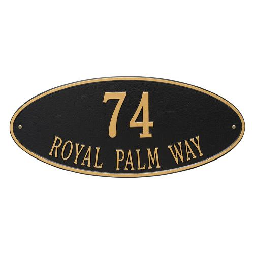 Madison Oval - Estate Wall - Two Line - Black/Gold