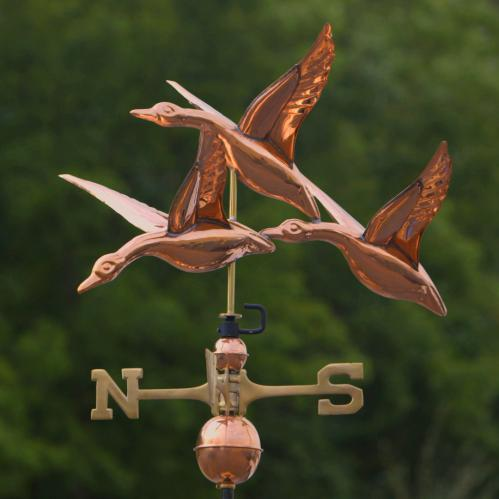3 Geese in Flight Copper Weathervane