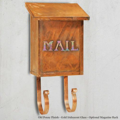 Classic MAIL Brass Vertical Wall Mount Mailbox shown with optional Magazine Rack