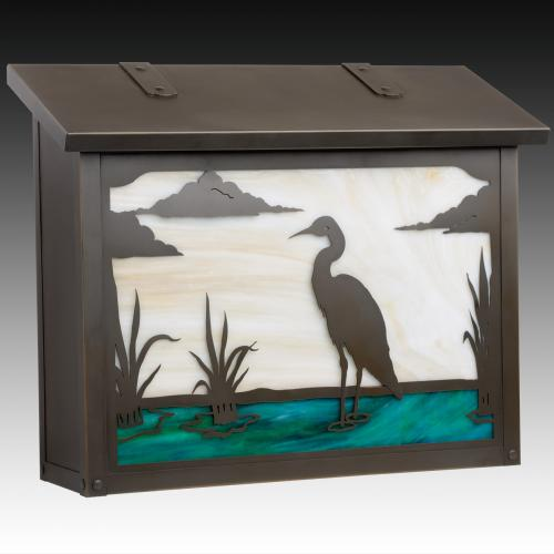 Blue Heron Large Horizontal Wall Mailbox