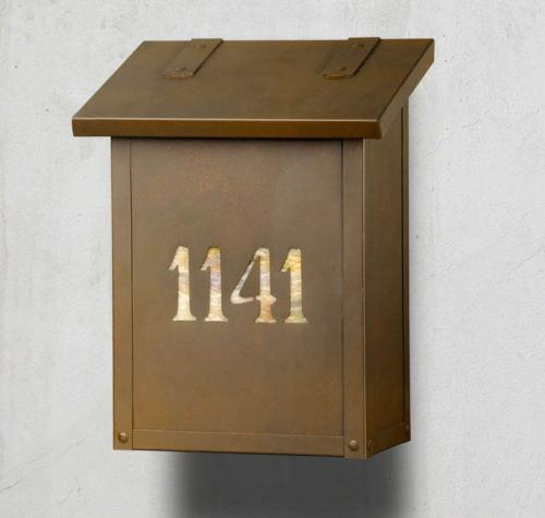 Classic Numbers Vertical Brass Wall Mailbox