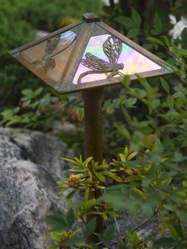 Dragonfly Pathway Lighting - New Verde Finish/Gold Iridescent Glass