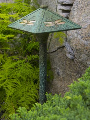 Dragonfly Pathway Lighting - Bronze Patina Finish/Autumn Green Glass