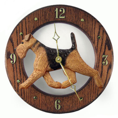 Airedale Terrier Dog Wall Clock in Dark Oak Finish