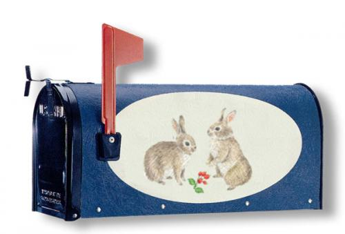 Oval Graphic Mailbox - Style: Bunnies