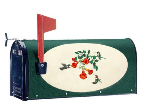 Oval Graphic Mailbox - Style: Hummingbirds