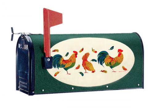 Oval Graphic Mailbox - Style: Roosters