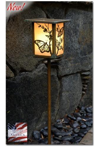 Butterfly Garden Lantern - Flat Roof/Straight Stake