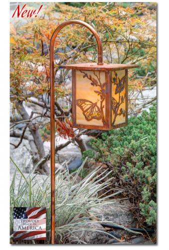 Butterfly Garden Lantern - Flat Roof/Curved Stake