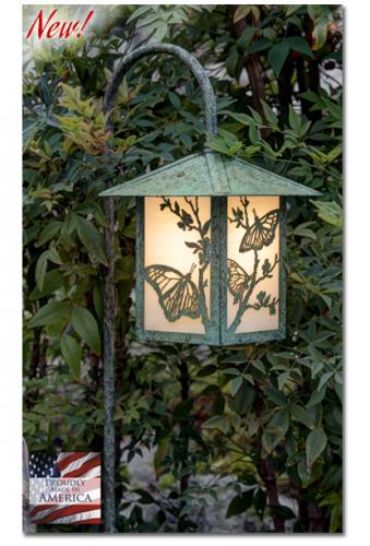 Butterfly Garden Lantern - Peaked Roof/Curved Stake
