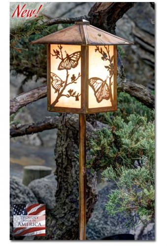 Butterfly Garden Lantern - Peaked Roof/Straight Stake