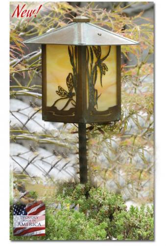 Dragonfly Garden Lantern (Peaked Roof/Straight Stake)