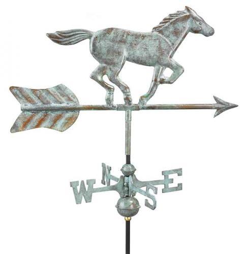 Horse Garden Weathervane shown in Blue Verde