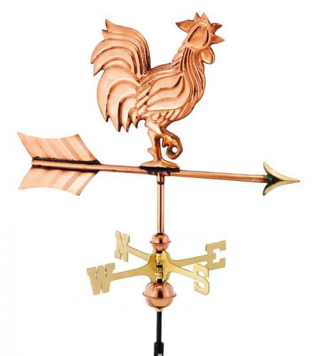 Rooster Garden Weathervane shown in Polished Copper