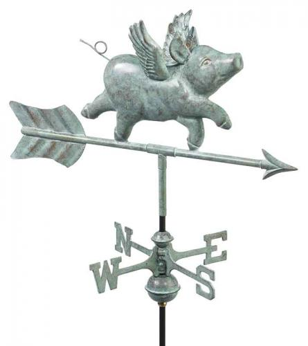 Flying Pig Garden Weathervane shown in Blue Verde