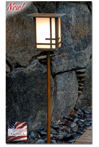 Geometric Design Garden Lantern (Flat Roof/Straight Stake)