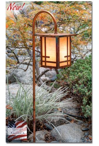 Geometric Design Garden Lantern (Flat Roof/Curved Stake)