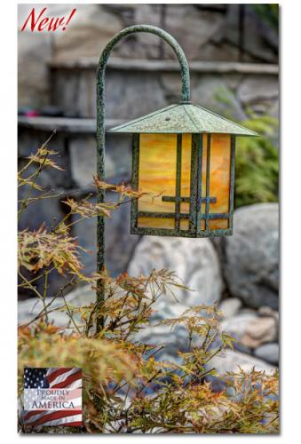 Geometric Design Garden Lantern (Peaked Roof/Curved Stake)