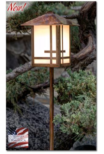 Geometric Design Garden Lantern (Peaked Roof/Straight Stake)