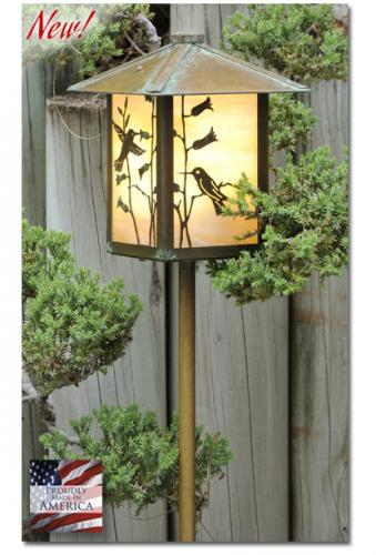 Hummingbird Garden Lantern (Peaked Roof/Straight Stake)
