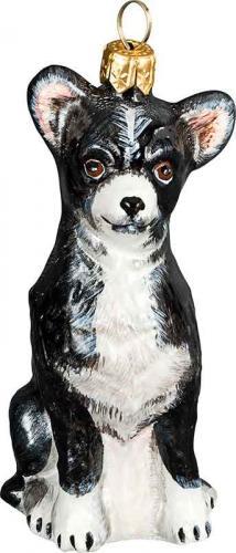 Chihuahua (Black/White) Glass Dog Ornament