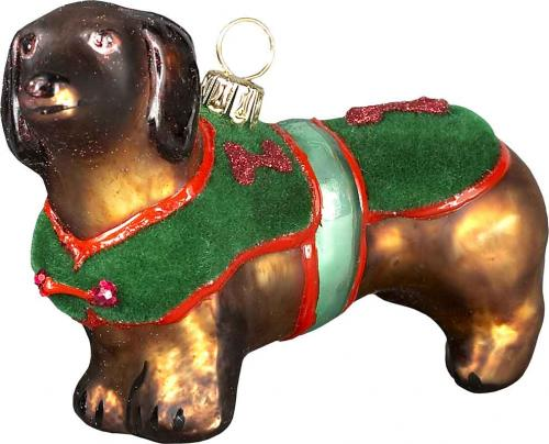 Dachshund Red w/Green Velvet Coat