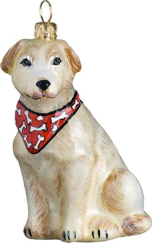 Yellow Labrador Retriever w/Bandana Glass Dog Ornament