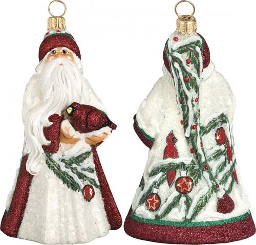 Cardinal Santa Glass Ornament