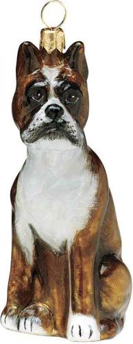 Boxer Sitting Dog Ornament