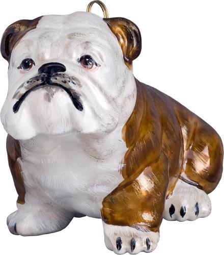 Bulldog Dog Ornament (Brown and White)