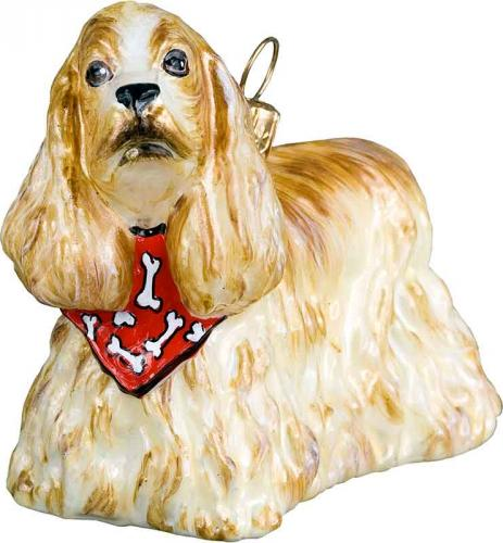 Cocker Spaniel (Blonde) w/Bandana Dog Ornament